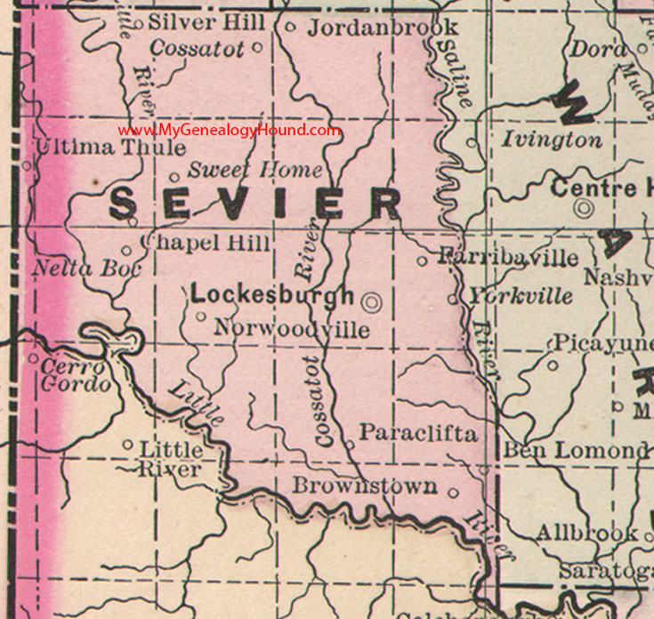 Sevier County Arkansas 1889 Map