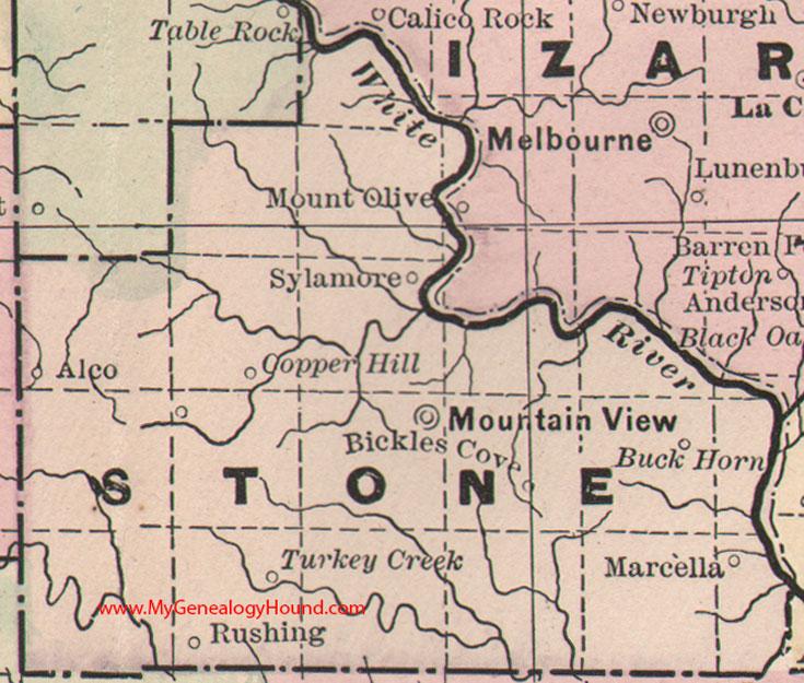 Stone County Arkansas 1889 Map