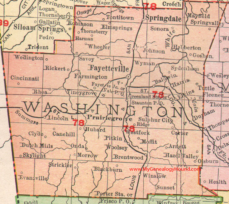 Washington County Arkansas 1909 Map
