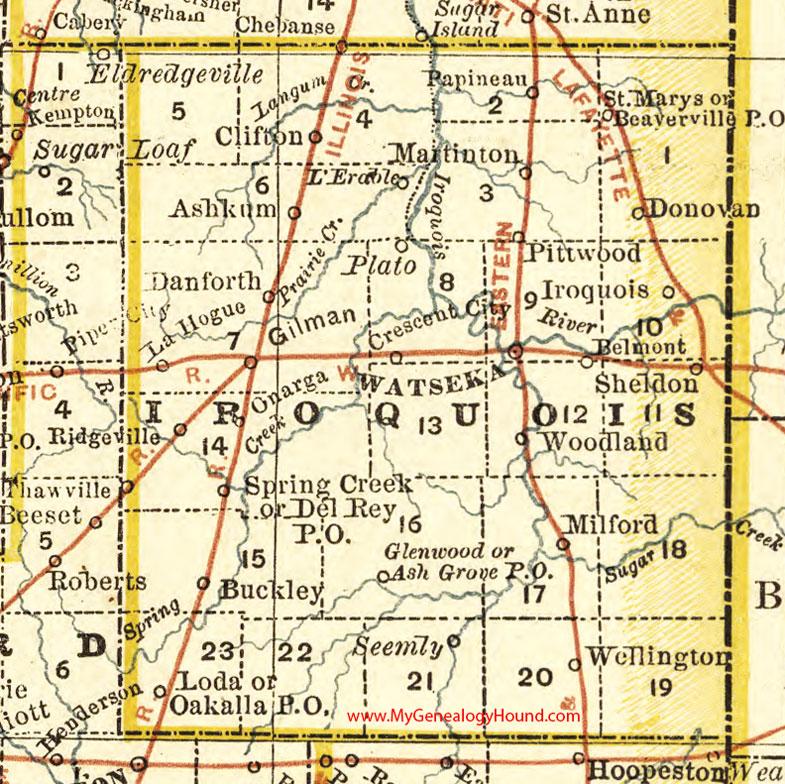 Iroquois County Illinois Map Watseka - Illinois maps