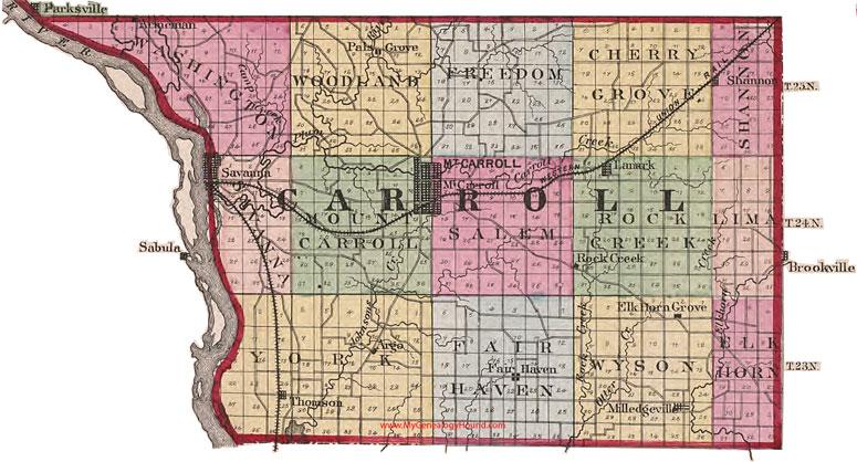 Thomson Illinois Map.Carroll County Illinois 1870 Map Mount Carroll Savanna Il