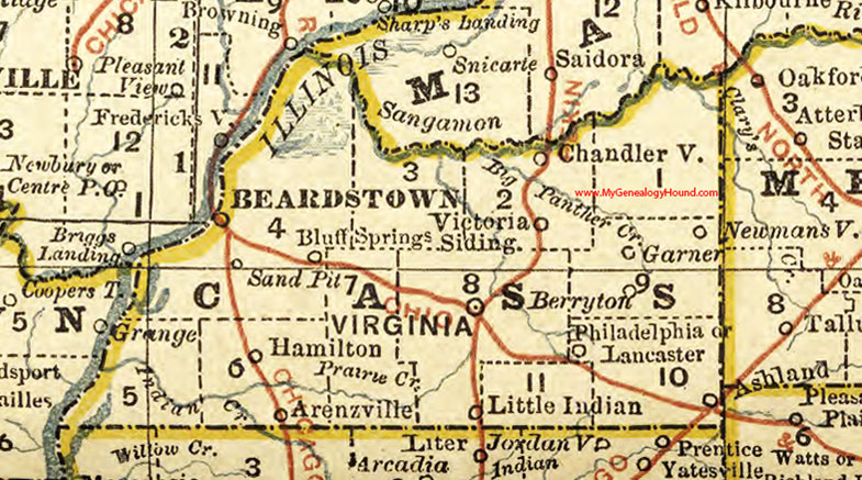 Cass County Illinois 1881 Map Beardstown