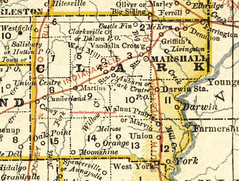 Clark County, Illinois 1881 Map, Marshall on