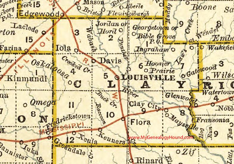 Clay County Illinois 1881 Map Flora Louisville
