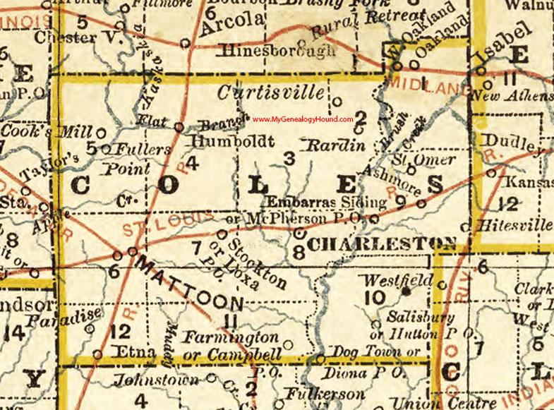 Coles County Illinois 1881 Map Charleston Mattoon
