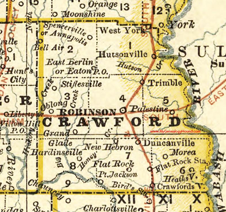 Robinson Illinois Map Crawford County, Illinois 1881 Map, Robinson