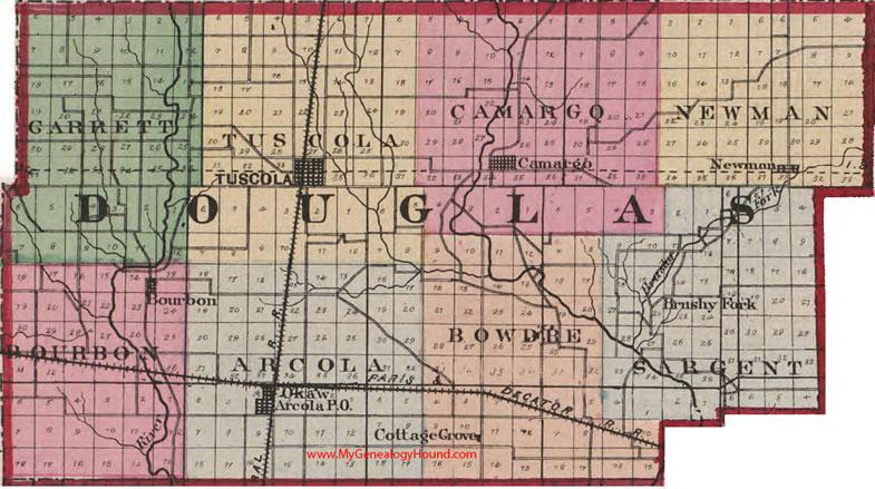 Douglas County Illinois 1870 Map Tuscola