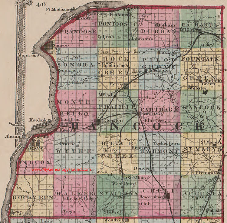Hancock County Illinois 1870 Map