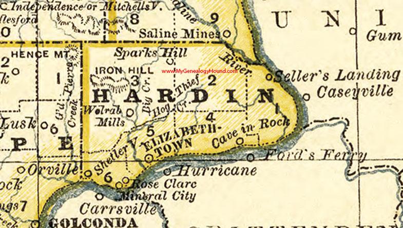 Hardin County Illinois 1881 Map Elizabethtown