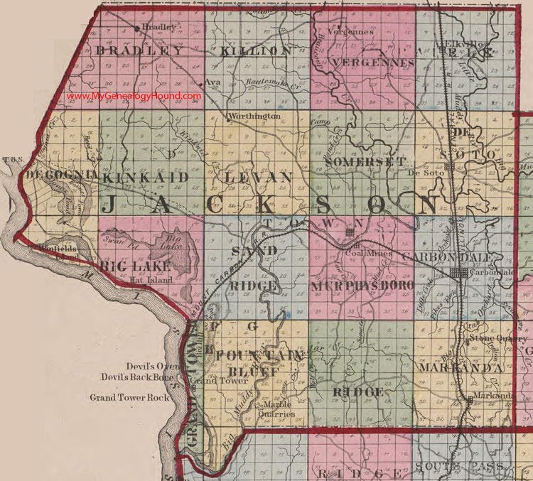 Jackson County Illinois 1870 Map