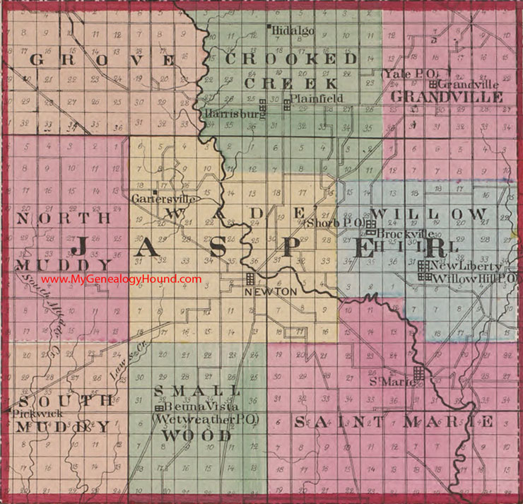 Harrisburg Illinois Map.Jasper County Illinois 1870 Map