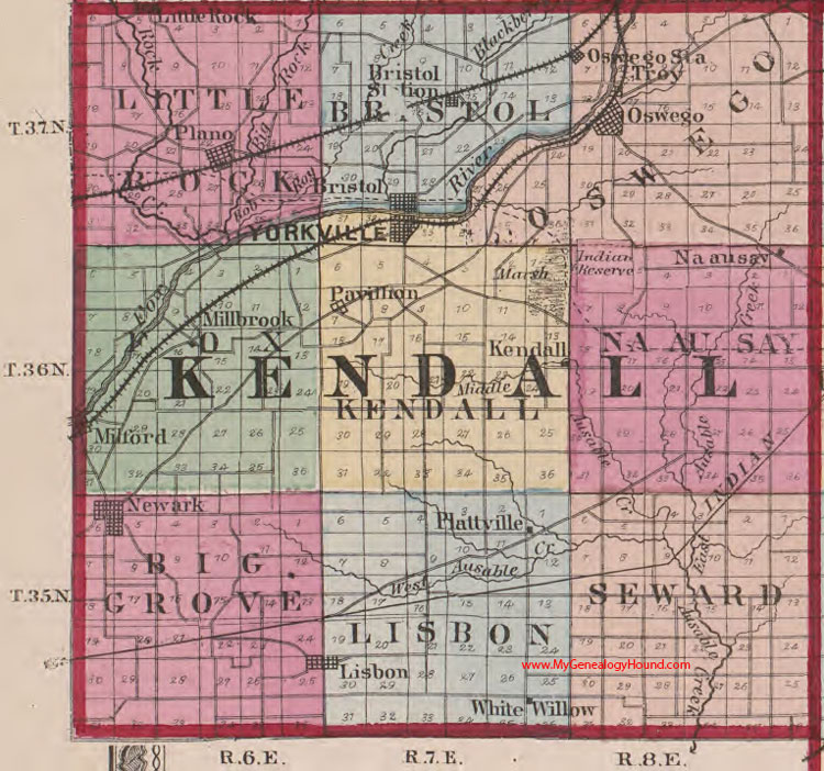 Kendall County Illinois 1870 Map Oswego