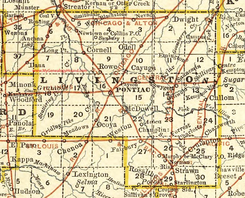 Livingston County Illinois Map Pontiac - Illinois county map