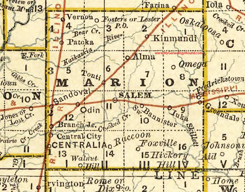 Marion County Illinois Map Salem Centralia - Illinois county map