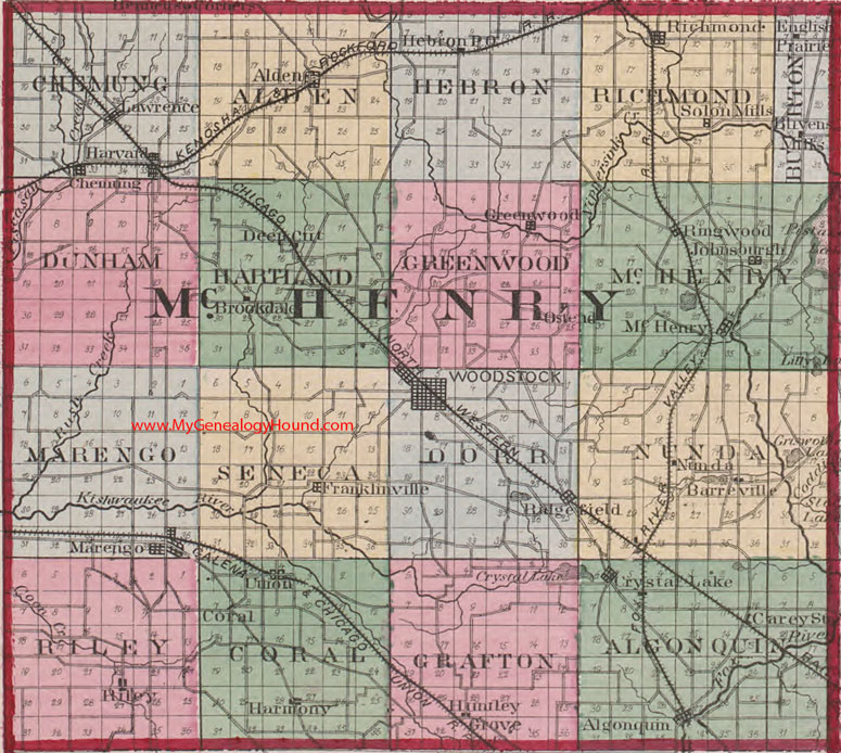 Mchenry County Illinois 1870 Map