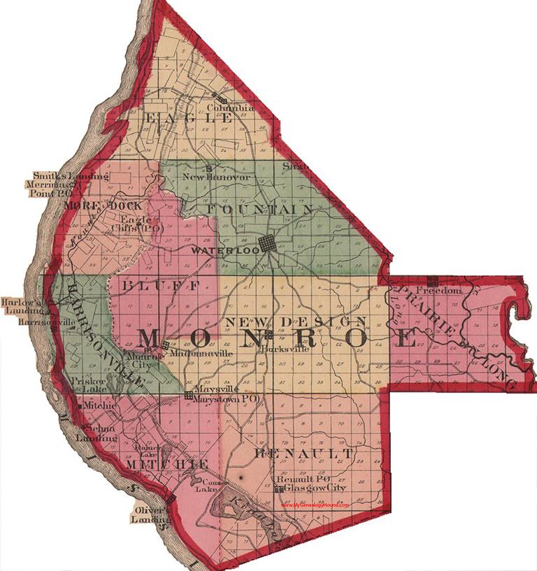 Monroe county illinois 1870 map waterloo burksville madonnaville