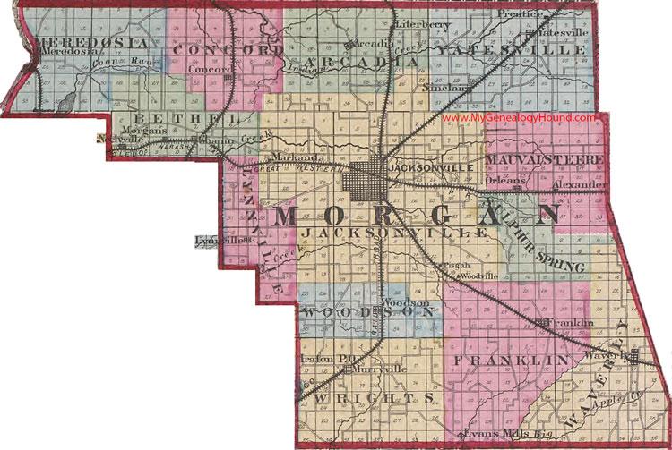 Morgan County Illinois 1870 Map