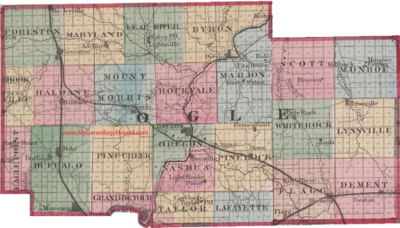 Ogle County Illinois 1870 Map