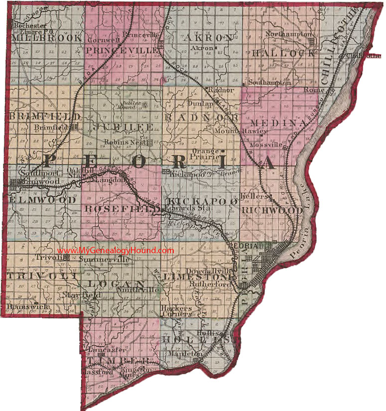 peoria county illinois 1870 map