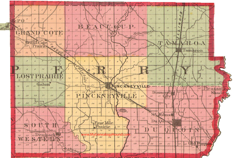 Perry County Illinois 1870 Map