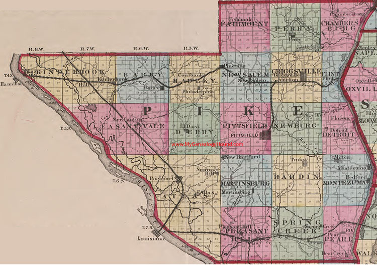 Pike County Illinois 1870 Map