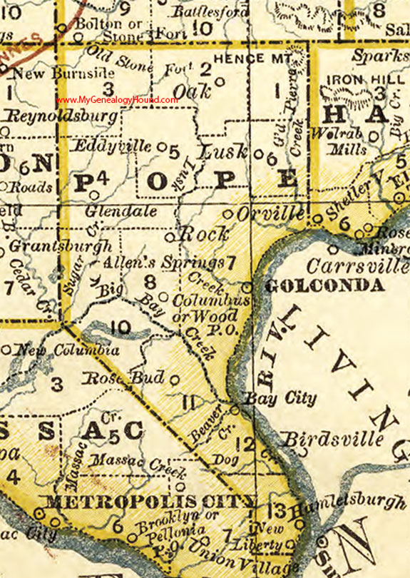 Pope County Illinois 1881 Map Golconda