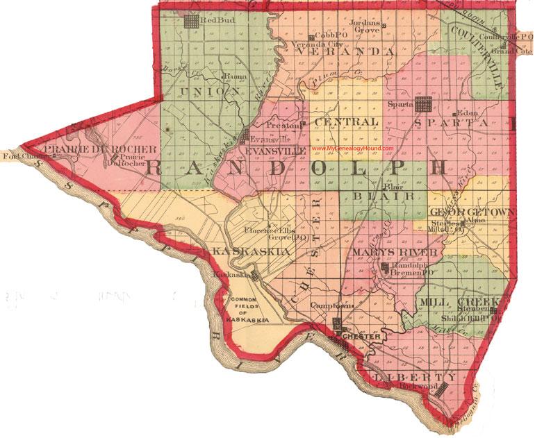 Evansville Illinois Map.Randolph County Illinois 1870 Map