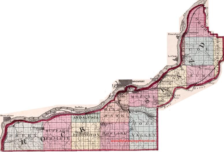 Rock Island County Illinois 1870 Map