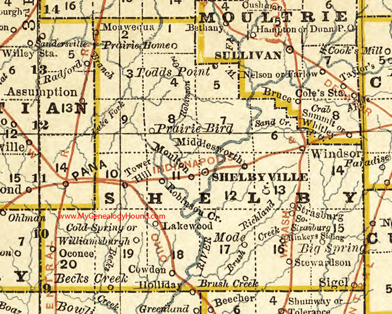 Shelby County, Illinois 1881 Map, Shelbyville on