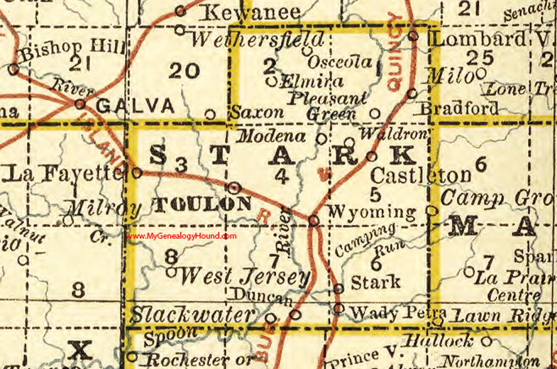 Stark County Illinois 1881 Map Toulon