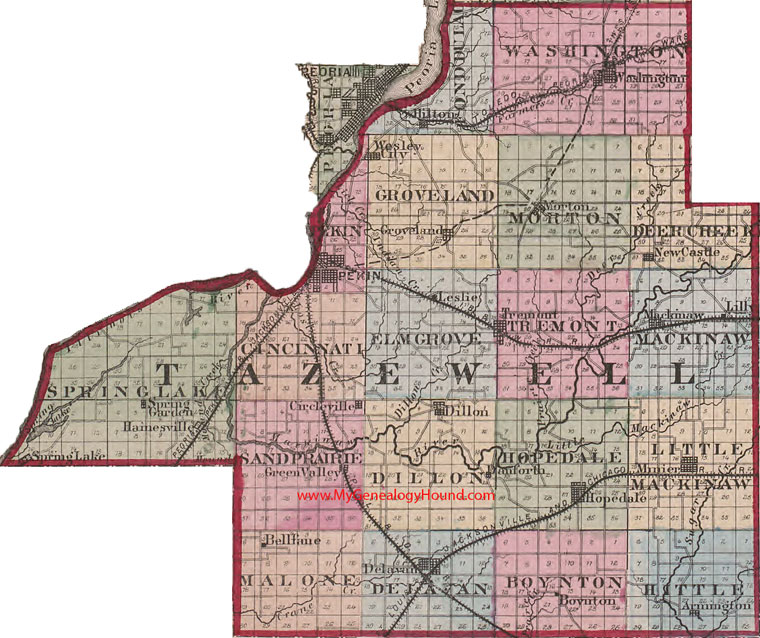 City Of Morton Illinois: Tazewell County, Illinois 1870 Map Pekin, Dillon, Hopedale