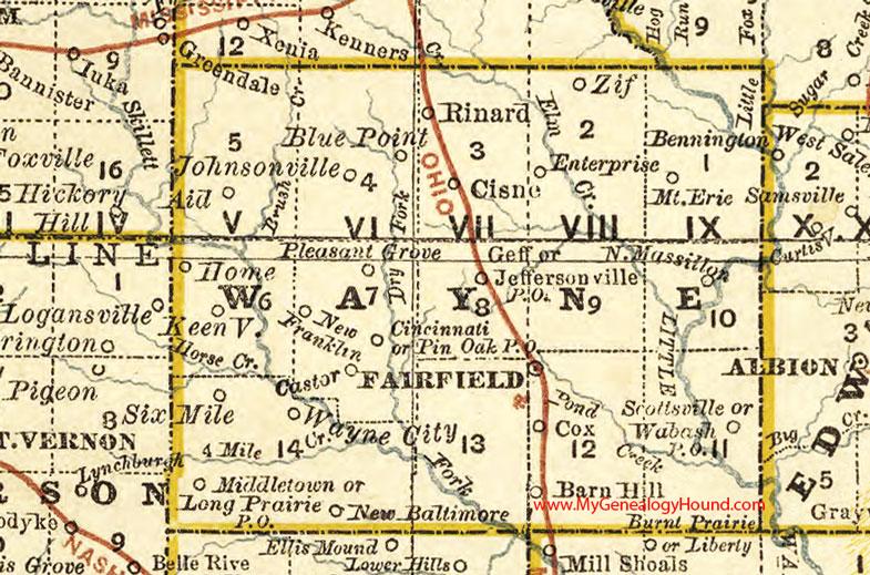 Wayne County, Illinois 1881 Map, Fairfield