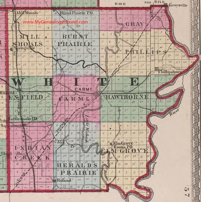 White County Illinois 1870 Map