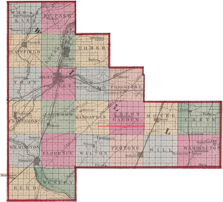Map Of Will County Illinois Townships