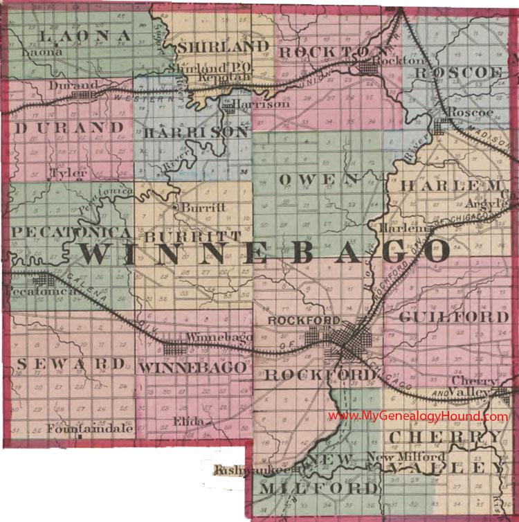 Winnebago County, Illinois 1870 Map