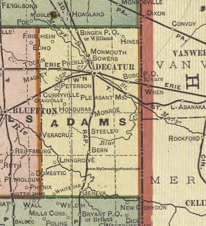 Adams County Indiana 1908 Map Decatur
