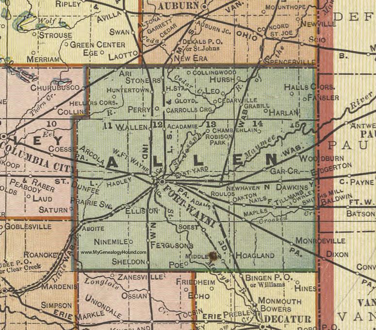 Allen County Indiana 1908 Map Fort Wayne
