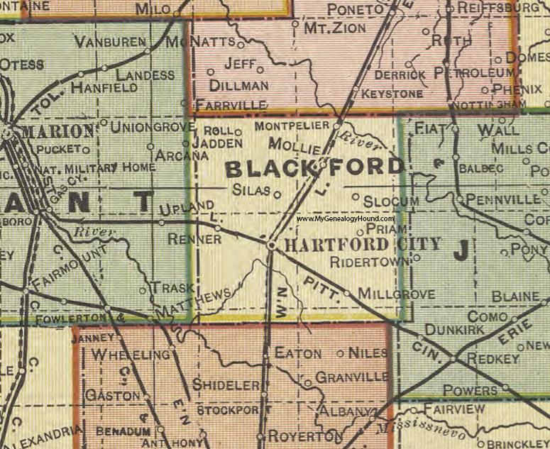Hartford City Indiana Map.Blackford County Indiana 1908 Map Hartford City
