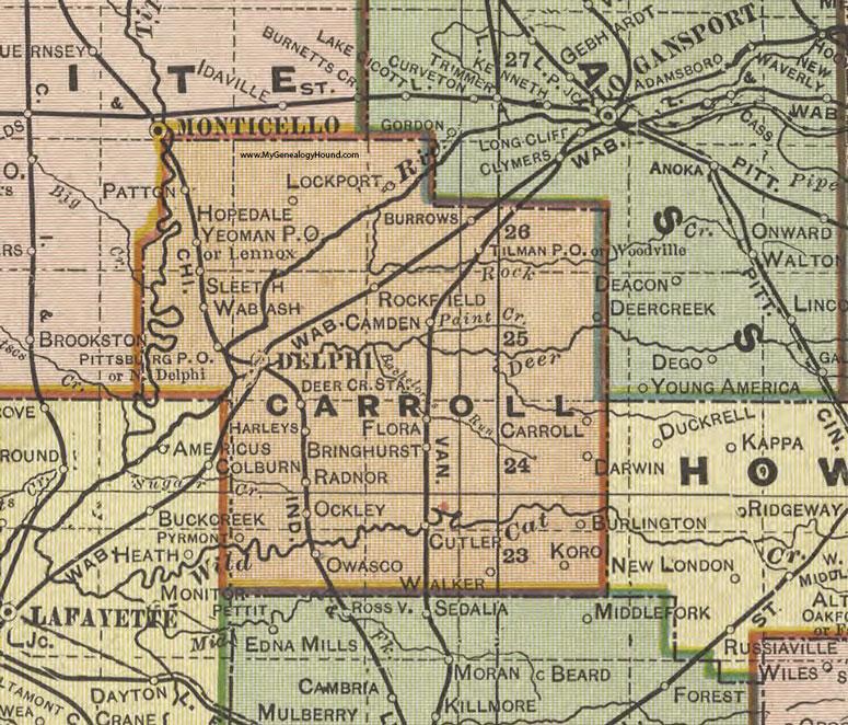 Carroll County Indiana 1908 Map Delphi