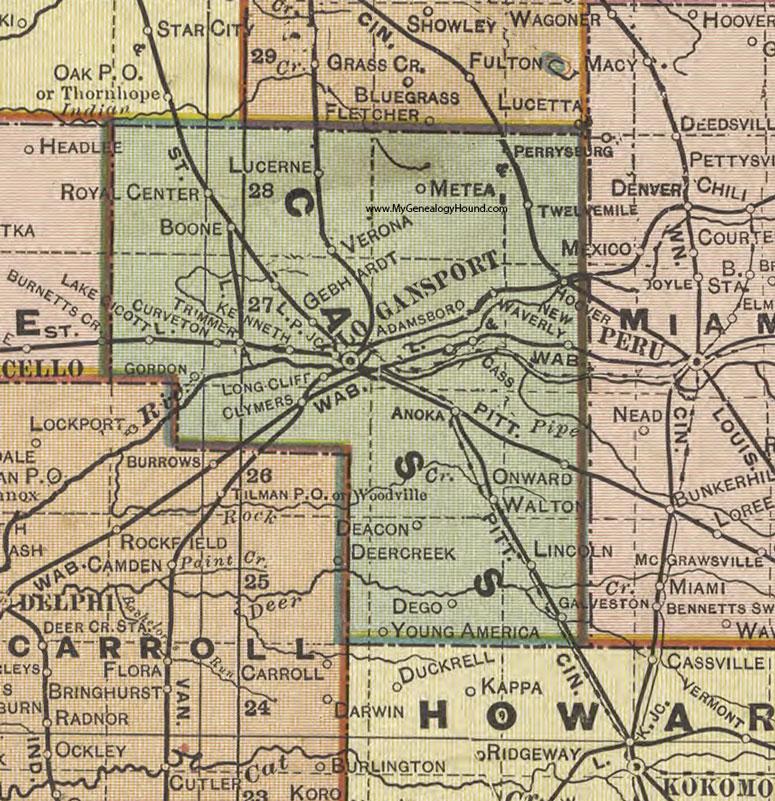 Cass County, Indiana, 1908 Map, Logansport