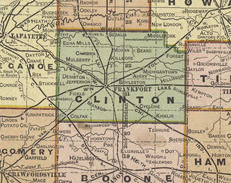 Clinton County, Indiana, 1908 Map, Frankfort