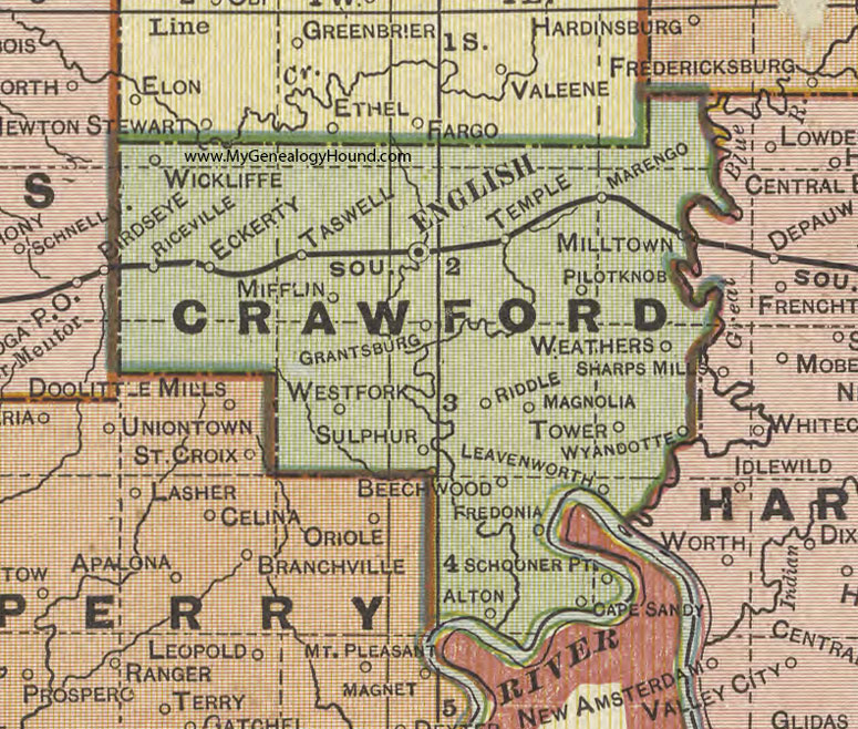 Crawford County, Indiana, 1908 Map, English