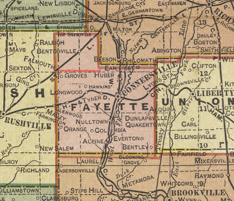 Fayette County, Indiana, 1908 Map, Connersville