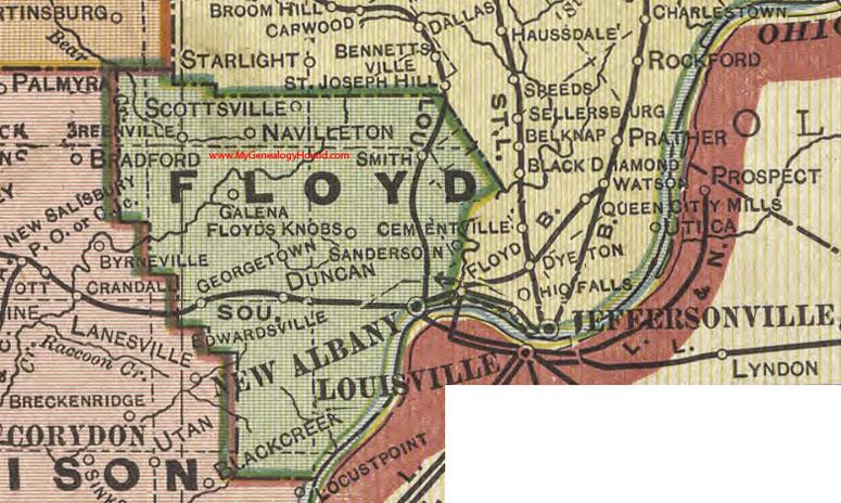 Floyd County, Indiana, 1908 Map, New Albany