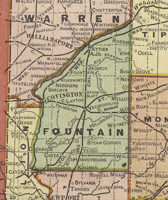 Fountain County Indiana Map Covington - Road map of indiana