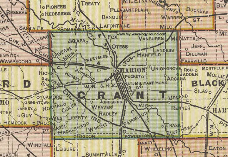 Upland Indiana Map.Grant County Indiana 1908 Map Marion