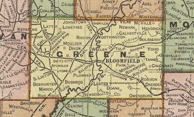 Greene County Indiana 1908 Map Bloomfield