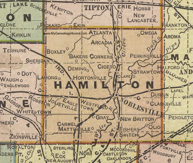 Hamilton County Indiana Map Noblesville - Indiana maps