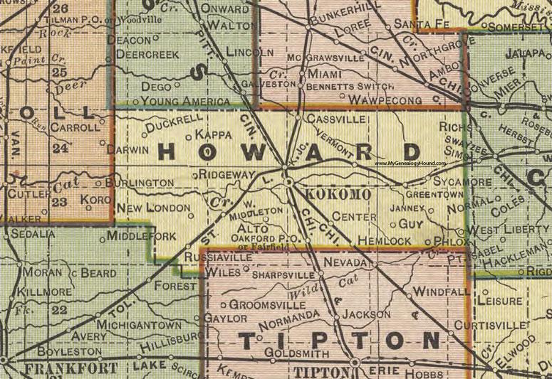 Howard County Indiana Map.Howard County Indiana 1908 Map Kokomo