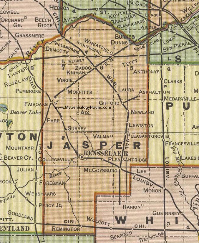 Jasper County Indiana 1908 Map Rensselaer